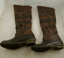 New Sperry Saltwater Sela Rain  Boots Sz 6 Leather Wool Brown Read LQQK No Box