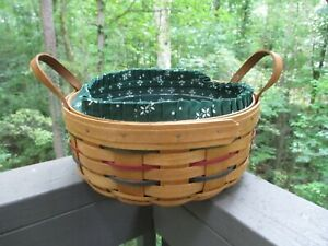 """1994 LONGABERGER 10"""" Darning BASKET 3 Pc COMBO w/Attached Leather Loop Handles"""