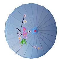 "Vintage Oriental Folding Blue Wedding Party Nylon Bamboo Umbrella Parasol 15"""