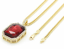 "Mens 14k Gold Plated Iced Out Red Cz Octagon Pendant Hip-Hop 30"" Cuban ChainM1"