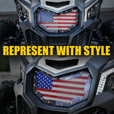 Fit 2017-2019 CAN-AM MAVERICK X3 Front Mesh Grille with U.S Flag Stainless Steel