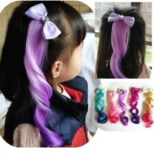 12'' 30cm Kid Clip in Ombre Bow Curly Wave Synthetic Hair for Girl Party banquet