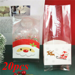 20X Clear Christmas Santa Claus Cello Cellophane With Gusset Favor Party Bags