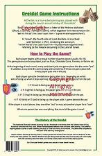 DREIDEL INSTRUCTIONS CARD - - - a guide how to play the chanuka jewish draydel