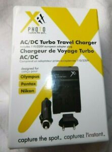 AC/DC Turbo Travel Charger Olympus Nikon includes European/ Car  Adapter