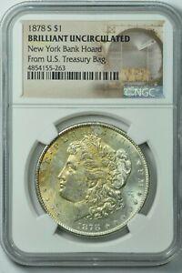 1878-S New York Bank Hoard Morgan Silver Dollar NGC BU Brilliant Unc MS Toned