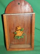UNUSUAL! Glass Front, Vintage Wooden Wall Knife Holder Rack Flowered Decal