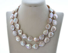 "Freshwater Pearl Necklace Cz P7684 32"" 15mm Lavender Coin"