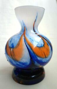 V.B. Opaline Florence Empoli Marbled Orange, Blue & White Glass Vase
