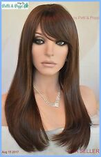 Skin Top Long Length Wig Straight  with Bangs Color #6 Brown USA Seller