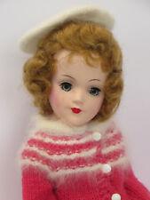 Mary Hoyer Doll with Box & Knitting Pattern 1950s Vintage 14� Hard Plastic Hoyor