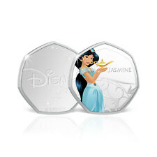 Disney Princess Gifts Jasmine 50p Shaped Silver Collection Coin Medal Aladdin