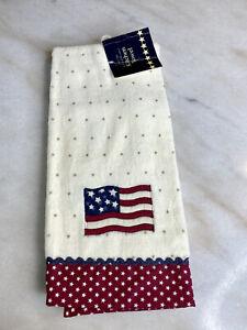 NEW PATRIOTIC USA AMERICAN FLAG STARS BATHROOM KITCHEN HAND TOWEL RED WHITE BLUE
