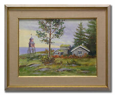 S JOHANSSON / TIMBER-COTTAGES IN NORTHERN SWEDEN-Original Swedish Oil Painting
