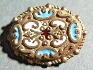 Unusual Oval Champleve Enamel Button - Renaissance Revival Style