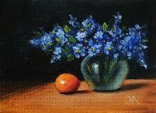 ACEO ATC Original Oil painting Blue Flower Orange Glass Vase Still Life Art Card