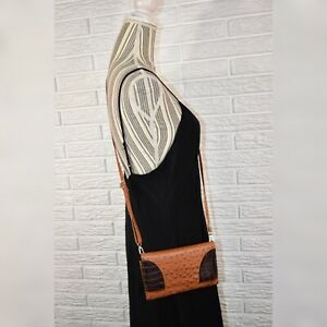 Brown & Black Textured Faux Leather Crossbody Bag Purse
