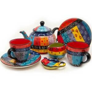 Kapula Fairtrade South African Ceramic Tea Set - Multi Coloured Ethnic Design