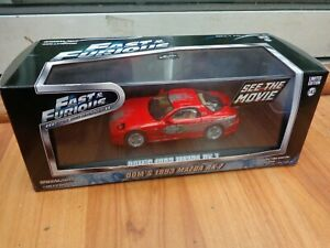 GREENLIGHT 1/43 DOMS 1993 MAZDA RX-7 RED FAST & FURIOUS MOVIE CAR 86204