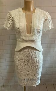 New Three Floors Off White Lace Mesh Panel Bust Knee Evening Dress Size 8 - 10