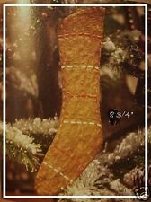 Primitive Glittered Gingerbread Xmas Stocking Ornament & Gift Tag Country Decor