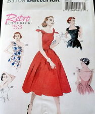1950s DRESS BUTTERICK RETRO SEWING PATTERN 14-16-18-20-22 UC