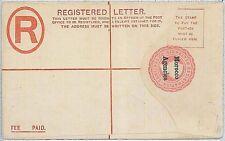 POSTAL STATIONERY - GIBRALTAR overprinted MOROCCO AGENCIES: registered envelope