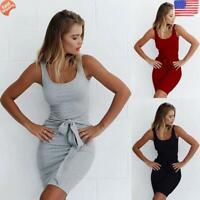 ✅ Women Solid Color Sleeveless Tunic Bowknot Slim Tight Short Beach Dress Gift