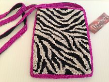 CHRISTIANA Vtg NWT Beaded Zebra Print w/ Pink Border Crossbody Purse/Handbag BIN