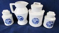 MC COY  VINTAGE BLUE WILLOW PAGODAS  BONSI CREAMER, SUGAR, SALT AND PEPPER SET