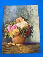 VINTAGE FloralVASE OF FLOWERS PINK  WHITE AND RED Art Print Lithograph