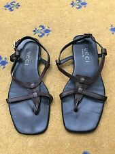 Gucci Mens Sandals Flip Flop Brown Leather Shoes UK 8 US 9 EU 42 Made in Italy