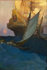 Howard Pyle An Attack On A Galleon Poster Reproduction Giclee Canvas Print