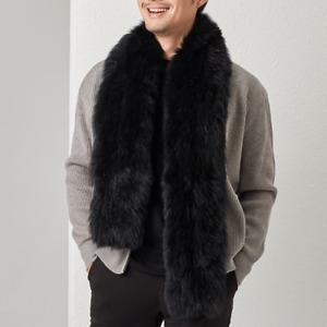 100% Real Fox Fur Knitted Collar Warm Fur Bib Men's Fur Scarf Winter Fur Scarves