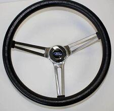 "15"" Black Stainless Steel Steering Wheel Ford Cap Fits Ididit Flaming Column"
