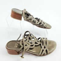 Stewart Weitzman Strappy Gray Suede Leather Block Heel Sandals Size 6 Womens EUC