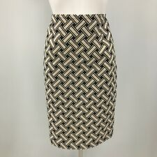 Max Mara Skirt UK 14 Beige Black Check Pattern Pencil Smart Occasion Work 303448