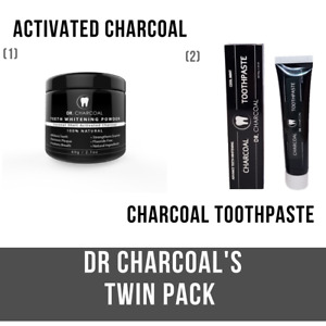 TWIN PACK: Activated Charcoal Toothpaste + Powder | DR CHARCOAL | Natural MINT