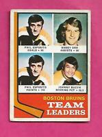 1974-75 OPC  # 28 BRUINS ESPOSITO + ORR  LEADERS GOOD CARD (INV# C3716)