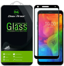 [2-Pack] Dmax Armor Tempered Glass Full Cover Screen Protector for Lg Q7 (Black)