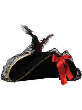 Adult Ladies Black Pirate Captain Hat & Feather Fancy Dress Caribbean Halloween