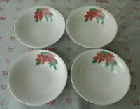 Set of 4 American Atelier POINSETTIA 5541 Soup Cereal Bowls