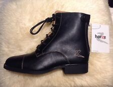 Horze Jodhpur Boots Soft Leather, Full Leather Lining & Insoles Lace Up Back Zip