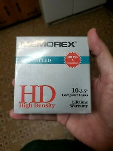 "MEMOREX BLACK FLOPPY DISC 10 PK DISKETTE PC FORMATTED 1.4MB HD 3.5""~NEW & SEALED"