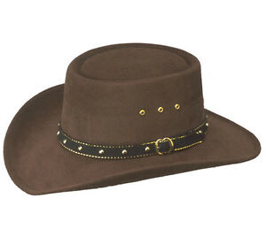 Genuine USA Western Cowboy Brown Gambler Felt Hat - Unisex Fancy Dress Stetson