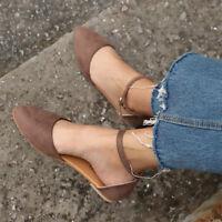 Fashion Women Leopard Flat Ankle Strap Ballet Pumps Ballerina Bridal Comfy Shoes