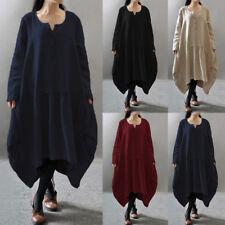 Plus Size L-5XL Womens Vintage Cotton Linen Dress V Neck Loose Solid Party Dress