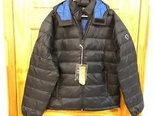 NWT Abercrombie & Fitch LIGHTWEIGHT PACKABLE HOODED PUFFER JACKET Black BLUE L