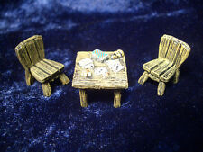 Card Player's Table w/ 2 Chairs  Thomarillion Unpainted Metal Dwarven Forge D&D