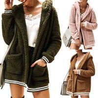 Femmes Manteau En Fausse Fourrure Slim Court Peluche Outwear Coat à Capuche